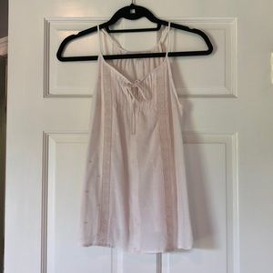 Loft Cream tank with embroidery size xs petite